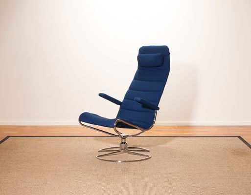 Outstanding Model Minister Chrome Royal Blue Swivel Chair By Bruno Mathsson 1980S Unemploymentrelief Wooden Chair Designs For Living Room Unemploymentrelieforg