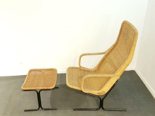 514C Set With Rattan Lounge Chair U0026 Ottoman By Dirk Van Sliedregt For  Gebroeders Jonkers Noordwolde, 1960s