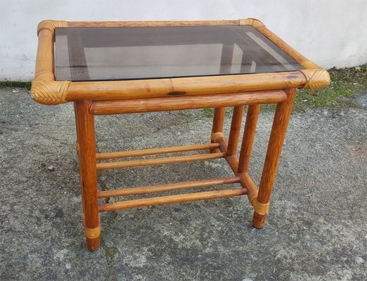 Vintage Bamboo Rattan Table 1960s 4