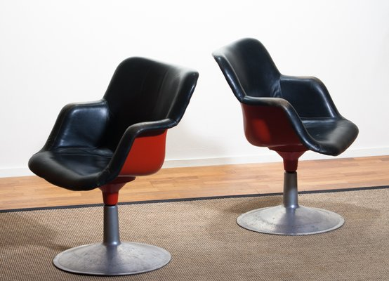 Stupendous Junior Red Black Leather Swivel Chairs By Yrjo Kukkapuro For Haimi 1960S Set Of 2 Beatyapartments Chair Design Images Beatyapartmentscom