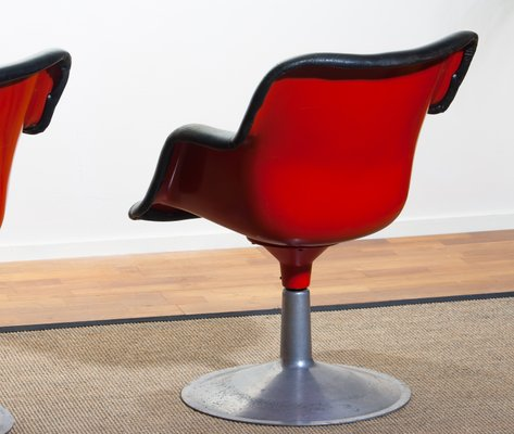 Phenomenal Junior Red Black Leather Swivel Chairs By Yrjo Kukkapuro For Haimi 1960S Set Of 2 Beatyapartments Chair Design Images Beatyapartmentscom