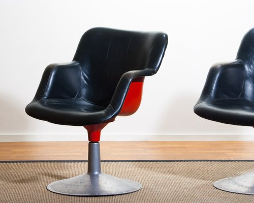 Brilliant Junior Red Black Leather Swivel Chairs By Yrjo Kukkapuro For Haimi 1960S Set Of 2 Beatyapartments Chair Design Images Beatyapartmentscom