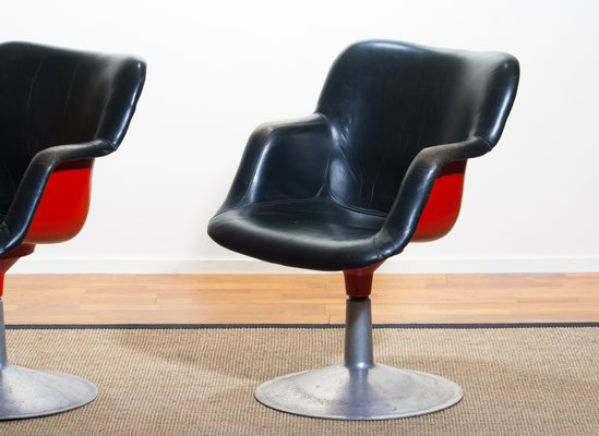 Prime Junior Red Black Leather Swivel Chairs By Yrjo Kukkapuro For Haimi 1960S Set Of 2 Beatyapartments Chair Design Images Beatyapartmentscom