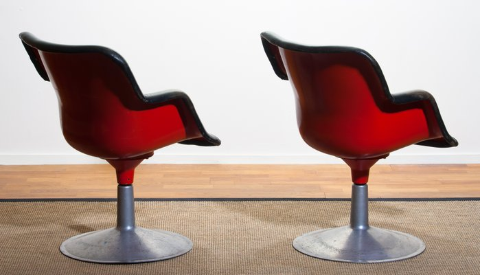 Excellent Junior Red Black Leather Swivel Chairs By Yrjo Kukkapuro For Haimi 1960S Set Of 2 Beatyapartments Chair Design Images Beatyapartmentscom