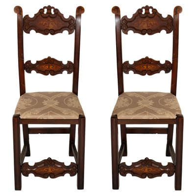 Merveilleux Venetian Gothic Style Carved Walnut Side Chairs, 1800s, Set Of 2 1