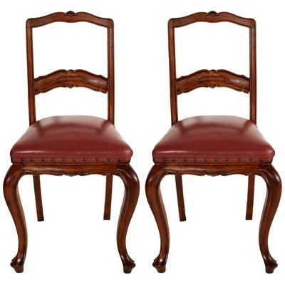 Neoclassical Hand Carved Walnut U0026 Leather Side Chairs, 1920s, Set Of 2