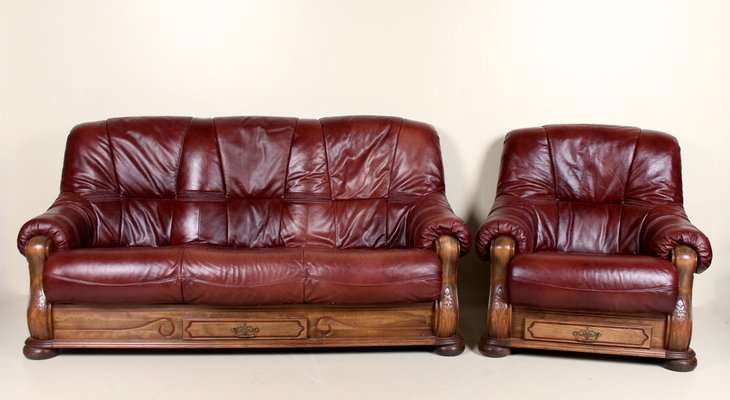 Set with Oak and Burgundy Leather Sofa & Armchair, 1960s for sale at ...