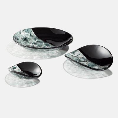 Centres De Table Baccan Noirs En Verre De Murano Par Stefano Birello Pour Veve Glass 2019 Set De 3