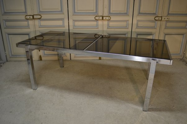 Glass U0026 Chrome Plated Extendable Dining Room Table, ...