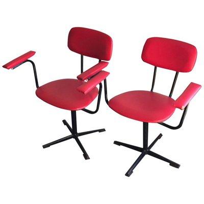 Bureau Rouges Pamono Sur Et 2 Noires1960sSet En Chaises De Vente TJFK1c35ul