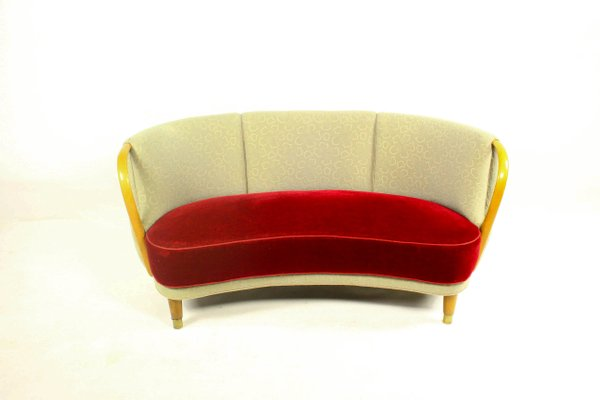 Curved Sofa by Viggo Boesen for N.A. Jørgensen, 1955 for sale at Pamono