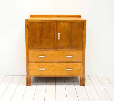 Armoires & Wardrobes 1900-1950 Attractive Small Vintage Art Deco Oak Tallboy Cabinet With Shelves