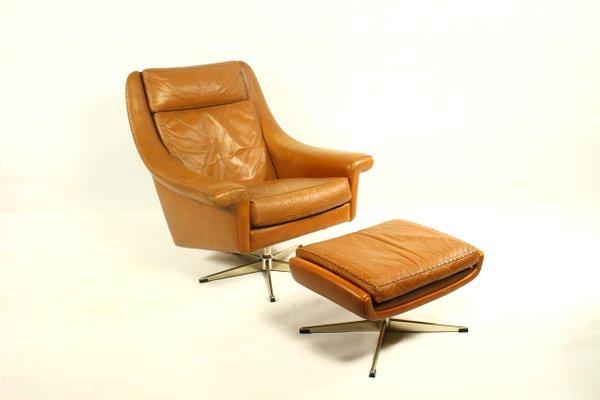 Matador Leather Swivel Chair U0026 Ottoman By Aage Christiansen For Erhardsen U0026  Andersen, 1960s