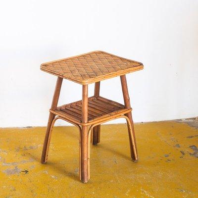 Tavolino In Vimini.Tavolino In Vimini E Legno Di Castagno Anni 60