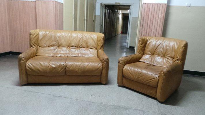 Incredible Vintage Leather Sofa Armchair 1980S Set Of 2 Creativecarmelina Interior Chair Design Creativecarmelinacom