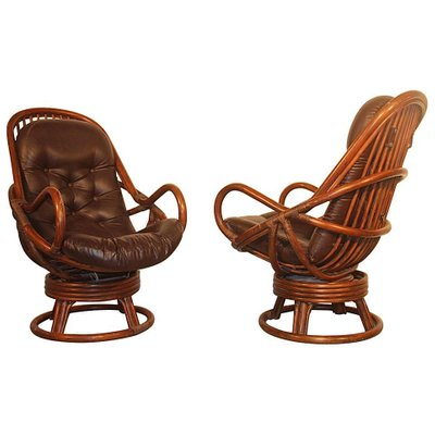 Fabulous Rattan Leather Swivel Lounge Chairs 1960S Set Of 2 Gmtry Best Dining Table And Chair Ideas Images Gmtryco