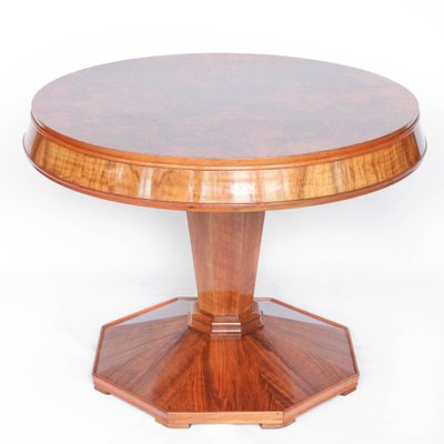 Round Art Deco Walnut Coffee Table 1930s 1