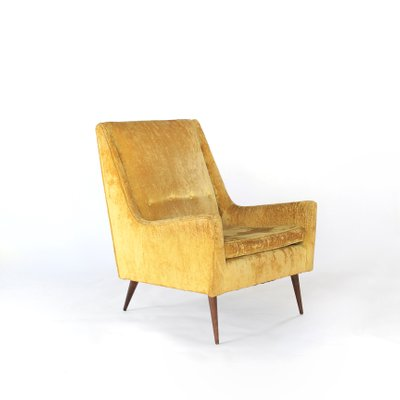 High Back Yellow Gold Lounge Chair By Paul McCobb For Widdicomb, 1960s