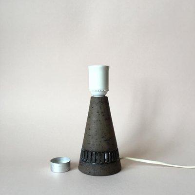 Small Vintage Swedish Brown Stoneware Table Lamp Base From Töreboda 1960s 2