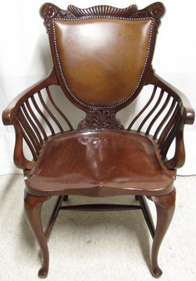 Mahogany And Leather Office Desk Chair, 1890s 1
