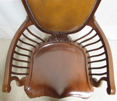 Astounding Mahogany And Leather Office Desk Chair 1890S Evergreenethics Interior Chair Design Evergreenethicsorg