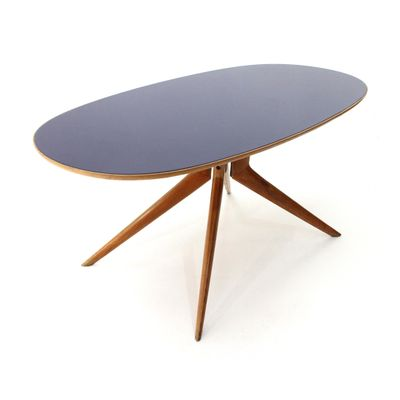 Tavolo da pranzo ovale in vetro e legno blu, anni \'50