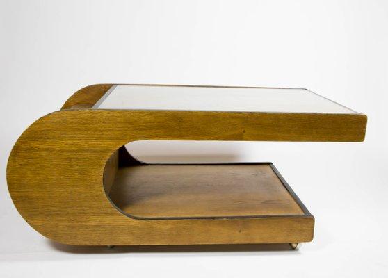 Tavolo a forma di U in legno e vetro, anni \'70 in vendita su Pamono