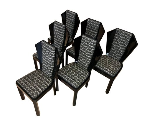 Art Deco Dining Room Chairs 1930s Set, Dining Room Chairs Set Of 6 Black And White