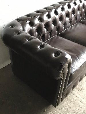 Mid-Century English Brown Leather Chesterfield Sofa