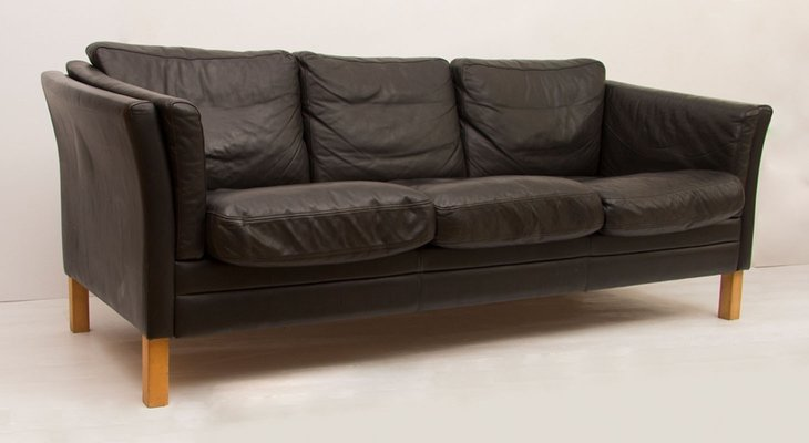 Black Leather 3-Seater Sofa by Mogens Hansen, 1970s for sale at Pamono