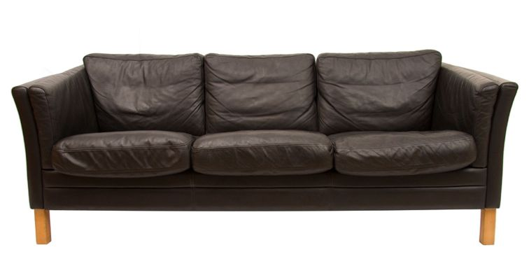 Black Leather 3-Seater Sofa by Mogens Hansen, 1970s
