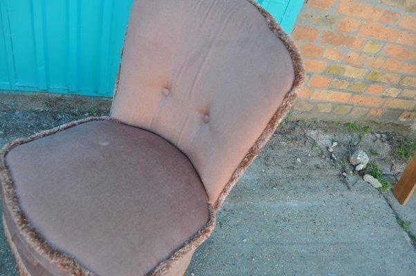 Tremendous Vintage Pink Velour Boudoir Chair 1950S Frankydiablos Diy Chair Ideas Frankydiabloscom