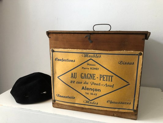 French Wooden Hat Box 1940s