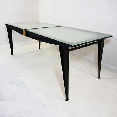 Mid Century Modern Dining Table With Black Steel Frame
