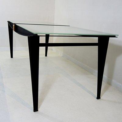 Mid Century Modern Dining Table With Black Steel Frame Sandblasted