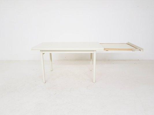 Mesa de comedor extensible blanca, años 80