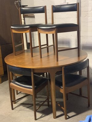 Mid Century Extendable Dining Table Chairs Set From Mcintosh