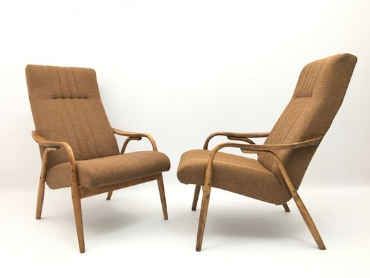 Vintage Brown Bentwood Armchairs From Ton Set Of 2 For Sale At Pamono