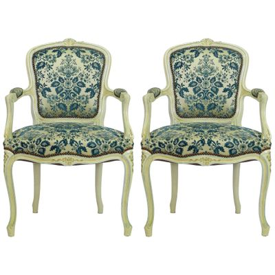 Vintage Louis Xv Style Armchairs Set Of 2 1