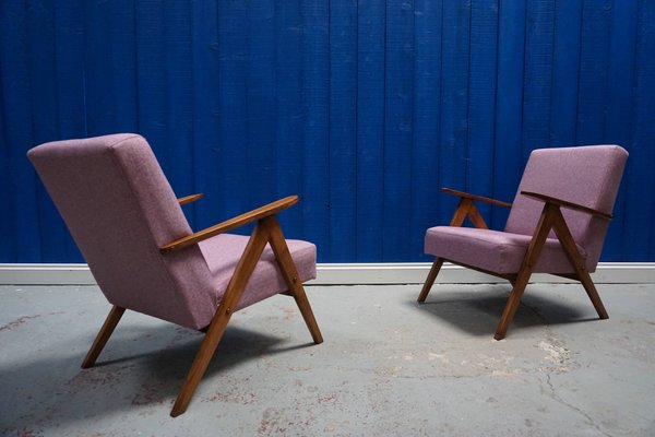 Marvelous Mid Century Modern Pink Tweed Easy Chairs Set Of 2 Dailytribune Chair Design For Home Dailytribuneorg