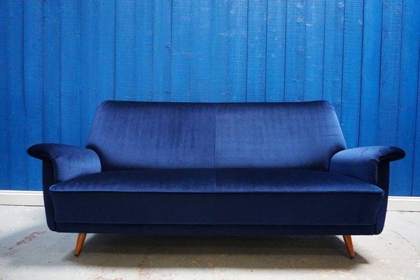 Mid-Century Danish Navy Blue Velvet Sofa, 1950s