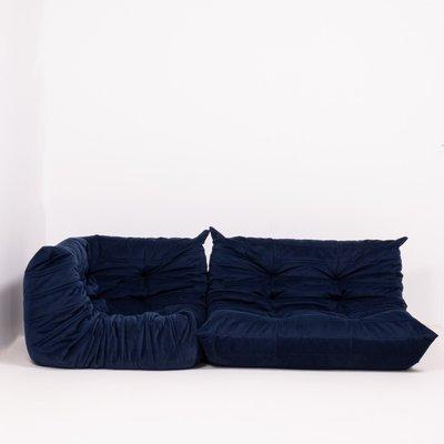 Navy Blue Togo Modular Sofa Set by Michel Ducaroy for Ligne Roset, 1970s