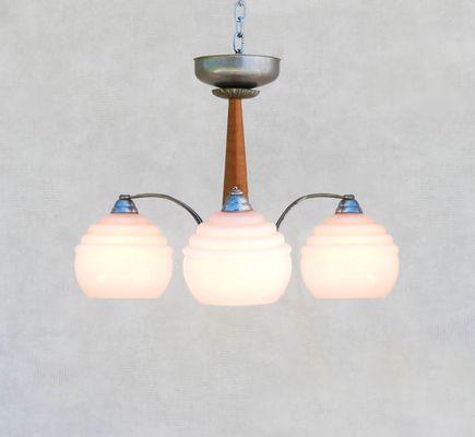 Art Deco Deckenlampe mit pinken Leuchtkugeln aus Opalglas, 1930er ...