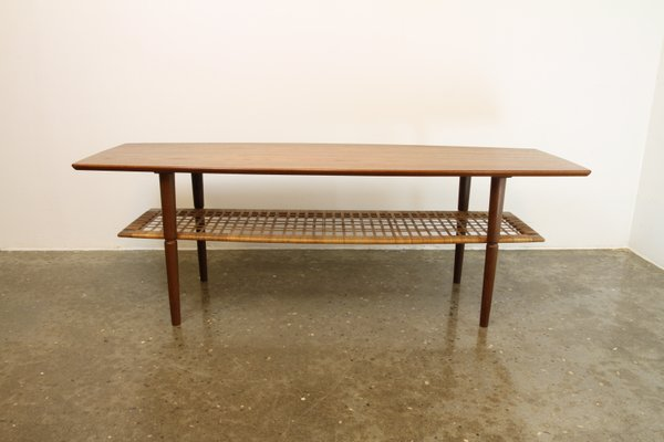 Vintage Danish Teak Coffee Table With Cane Shelf