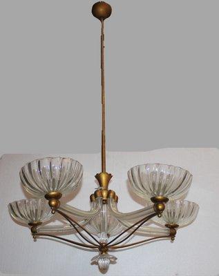 Lampadari Murano Barovier E Toso.Lampadario In Vetro Di Murano E Ottone Di Ercole Barovier Per Barovier Toso Anni 50