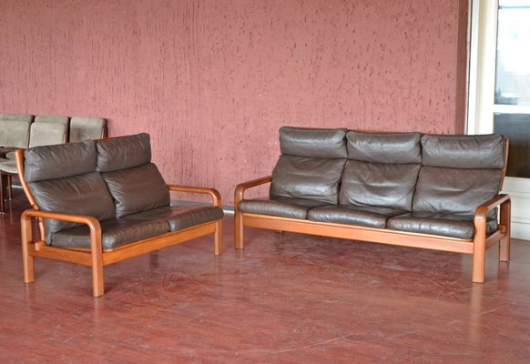 Awesome Danish Teak Leather Sofa Set With 3 Seater 2 Seater From L Olsen Son 1960S Pdpeps Interior Chair Design Pdpepsorg