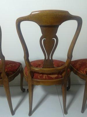 Sillas de comedor antiguas de madera, años 50. Juego de 4 en venta ...