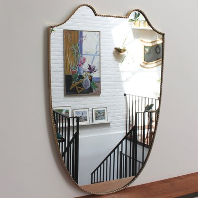 Specchio da parete grande Mid-Century con cornice in ottone, Italia, anni  \'50