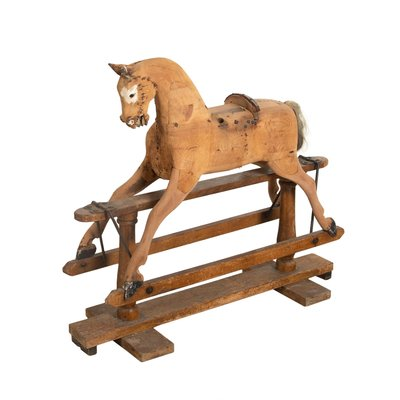 19th Century Carved Wooden Rocking Horse 1860s