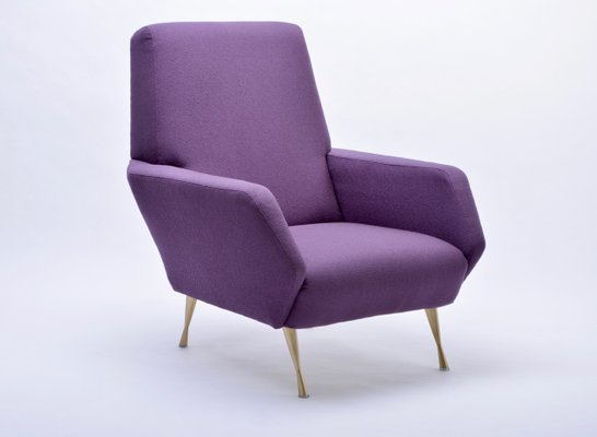 Attrayant Upcycled Italian Purple Lounge Chair, 1950s 2